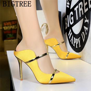 yellow shoes mules high heels bigtree shoes pointed toe high heels black pumps women shoes sexy high heels stiletto buty damskie