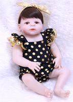 2018 hot sale big eyes 22 Full Body Silicone Reborn Baby Girl Doll Toys for Girls House Play Bathable Washable bonecas juguetes