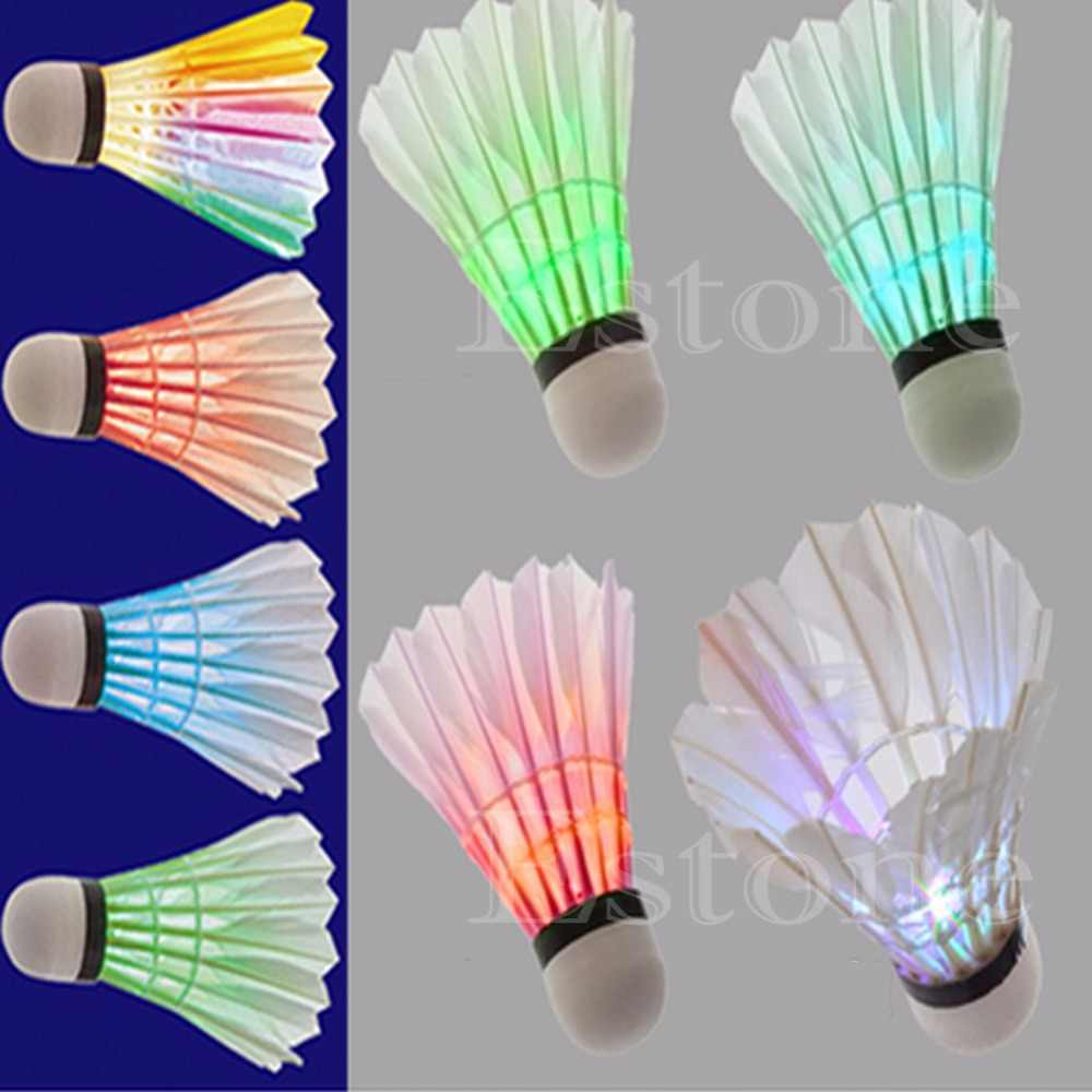 New 4 PCS DARK NIGHT COLORFUL LED BADMINTON SHUTTLECOCK BIRDIES LIGHTING BRAND-P101