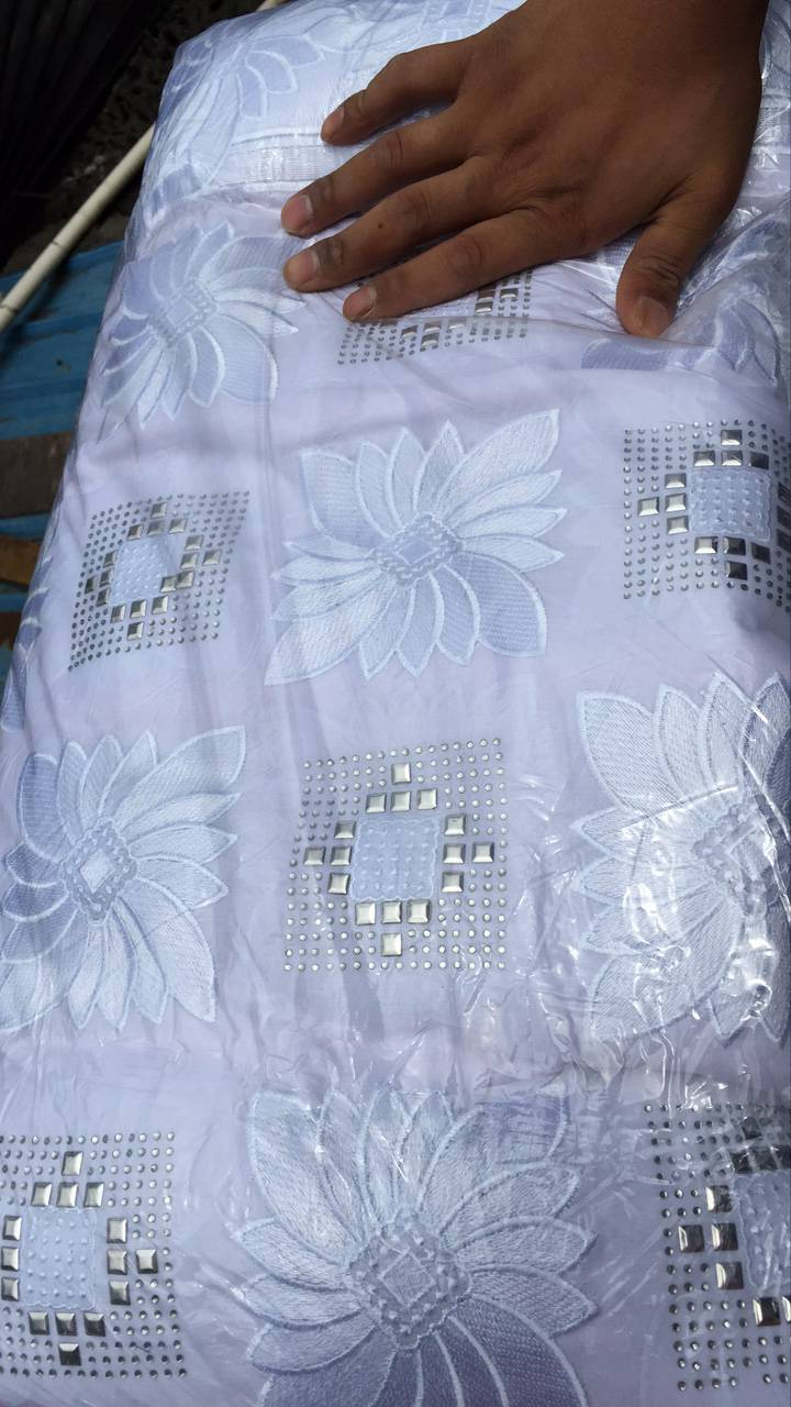 White color High quality lurex emboridered Swiss dry lace African swiss cotton lace fabric with stones