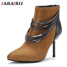 05111a0a6ec422 SARAIRIS grande taille 32-48 Nouveau Bout Pointu Zip Mince talons hauts  chaussures pour femme