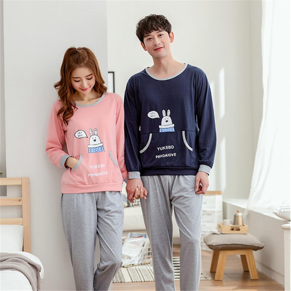 New Fashion spring autumn pajamas Set Night long-sleeve cartoon lovers homewear couples matching adult pajamas sets