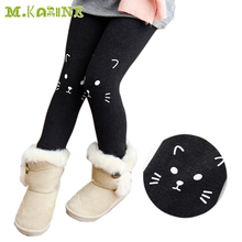 цена Autumn Winter Fashion Girls Warm Leggings Children Cat Print Pants Elastic Girl's Leggings Kids Skinny Pencil Pants Full Length онлайн в 2017 году
