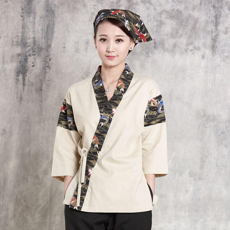 Hot Unisex Japanese Korea Style Medium Sleeve Chef Cook Uniform Top Waiter Work Wear Restaurant Printing Cook Shirt  HHF871