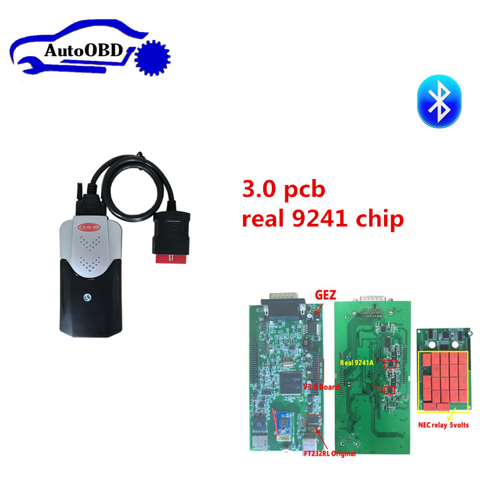 3.0 Pcb 9241 Chip New Box For Delphis Vd Ds150e Cdp New Vci Tcs Cdp Pro +8 Pcs Car Cables For Can Choose