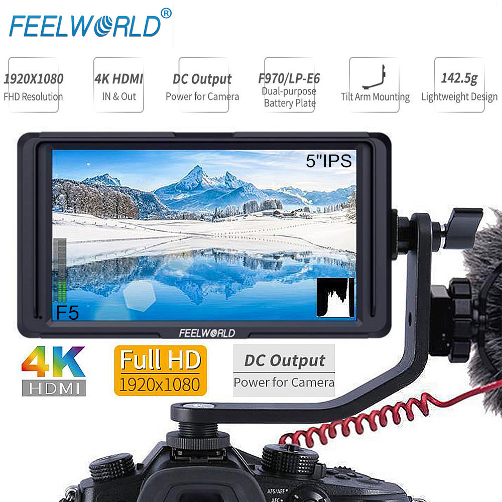 FEELWORLD F5 5 Inch Small HDMI 1920x1080 On-camera Video Monitor gimbal Accessories for Sony Nikon Canon DJI ronin s crane 2 цена