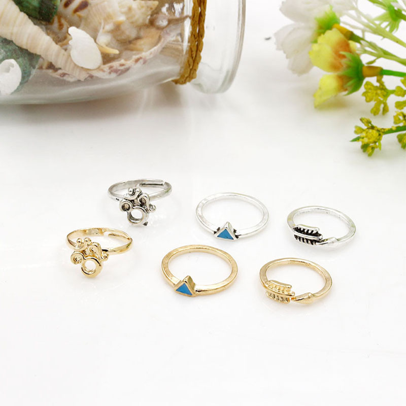 Elephant Rings Set Gold Silver Triangle Moon Arrow Cross Midi Knuckle Finger Open Ring Adjustable Women Jewelry 7 pieces/set