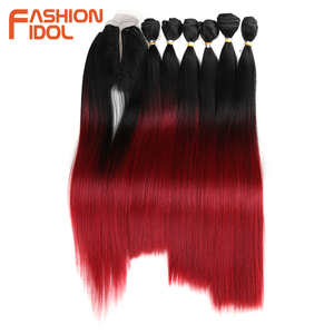 Image 2 - Модные кумир прямые пучки волос с закрытием Синтетические Яки Волосы Уток 16 20 дюймов 7 ⑤ упак. 250 г Омбре красные пучки волос