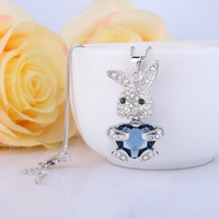 Bella Fashion Bling Heart Lovely Rabbit Pendant Necklace Austrian Crystal Animal Necklace For Women Party Jewelry