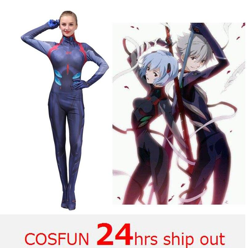 2019 New Kids Women Ayanami Rei Cosplay Costumes Movies EVA2 Women Jumpsuits Bodysuits Halloween Costumes Movie unitard