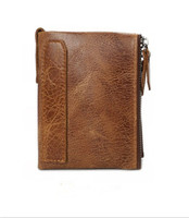 Crazy Horse Genuine Leather Men Wallets Credit Business Card Holders Double Zipper Cowhide Leather Wallet Coin