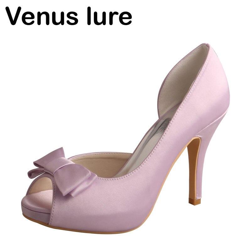 Lavender Satin High Heel Bridal Wedding Shoes Platform Women Pumps Peep Toe peep toes sexy summer wedding shoes satin bridal pumps hs352 handmade lace pearls ladies high quality satin dancing pumps