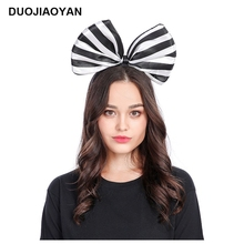 DUOJIAOYAN Girls Bow Hair Band Festival Headband Party Headwear Colorful Bowknot Hair Accessories Stripe Headband girls bow decorated headband