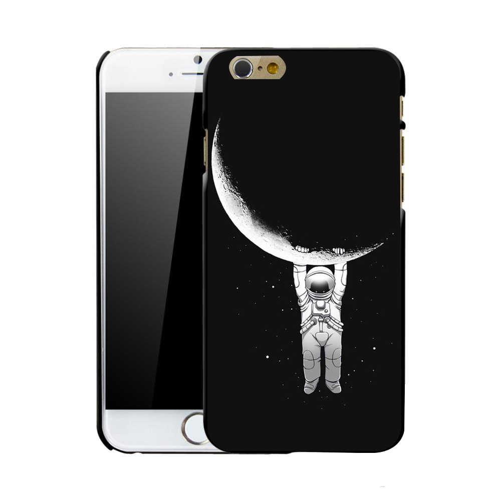 電話ケースiphone用7 8 6 s 5 sケース新加入スペースムーンブーツ宇宙飛行士パターン用iphone 7 8プラスプラネットスターつや消しハード裏表紙