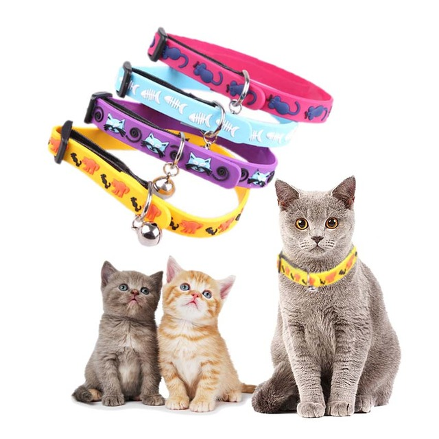 soft rubber collar with bell for kittens elastic cats necklaces pet dogs cat animals collars adjustable