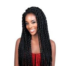 Feibin кружевные передние афро Твист плетеные парики для черных женщин Мамбо полный голова парик B33