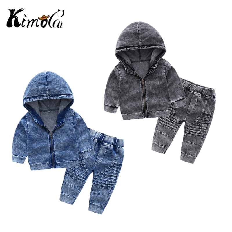 Kimocat Autumn new Charismatic guy childrens hooded long-sleeved knit denim suit boy two-pieceKimocat Autumn new Charismatic guy childrens hooded long-sleeved knit denim suit boy two-piece