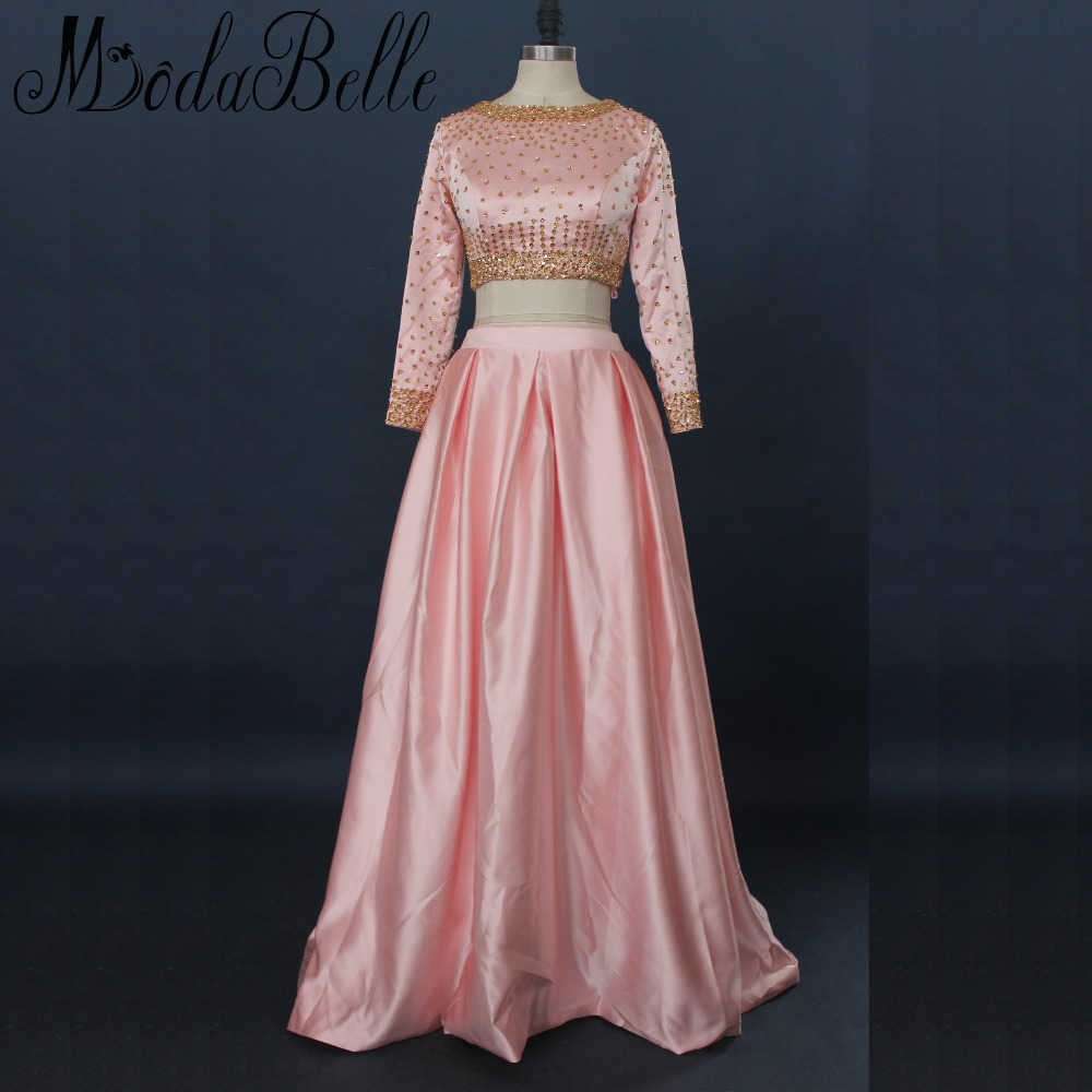 Modabelle Peach Pink Long Sleeve Prom Dresses Gold Sequin Two 2 Pieces Dubai Party Dress Prom