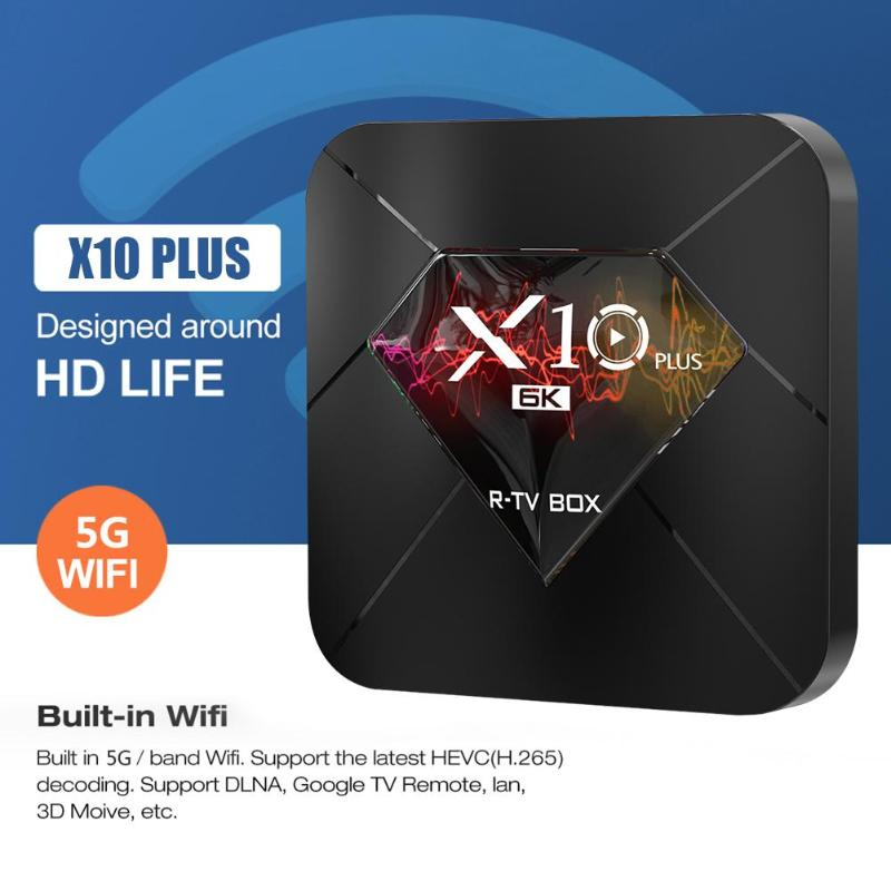 X10 Plus Android 9.0 Smart TV Box WiFi Quad-Core 4 GB 32 GB 64 GB RAM 3D H.265 TV BOX 6 K Media Player décodeur