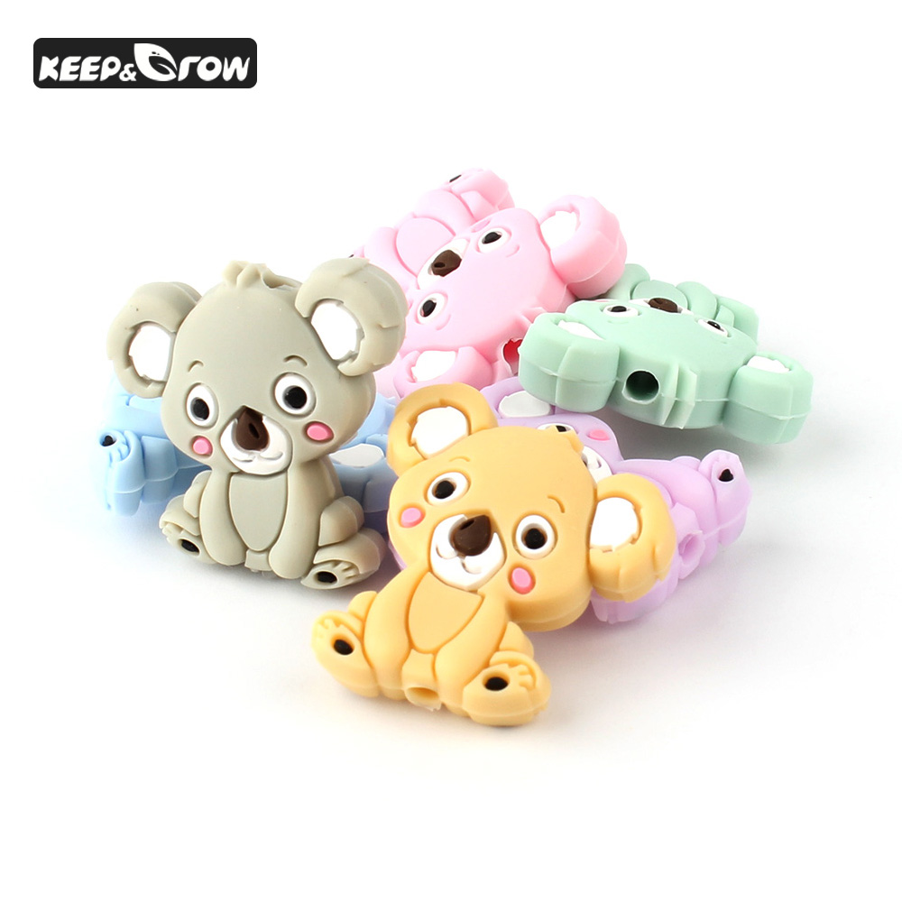 10Pcs Mini Koala Silicone Beads Food Grade Baby Teething Nursing Necklace Accessories Silicone Teether Beads DIY Pacifier Chain