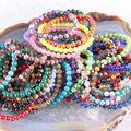 "Stretch 6mm Round Beads Natural Agate Quartz Lapis Jade Opal Jade Jasper Turquoise Bracelet 7.2"" 1Pcs LH1500-1512"