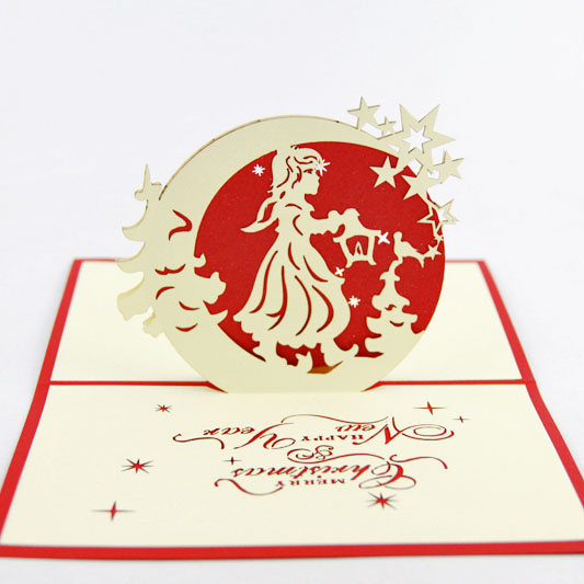 The goddess of the moon Christmas card /3D  kirigami card/ handmade greeting cards gift for men  Free shipping two books and many style collection of paper 72pcs the celebration card party a necessary birthday cards free shipping
