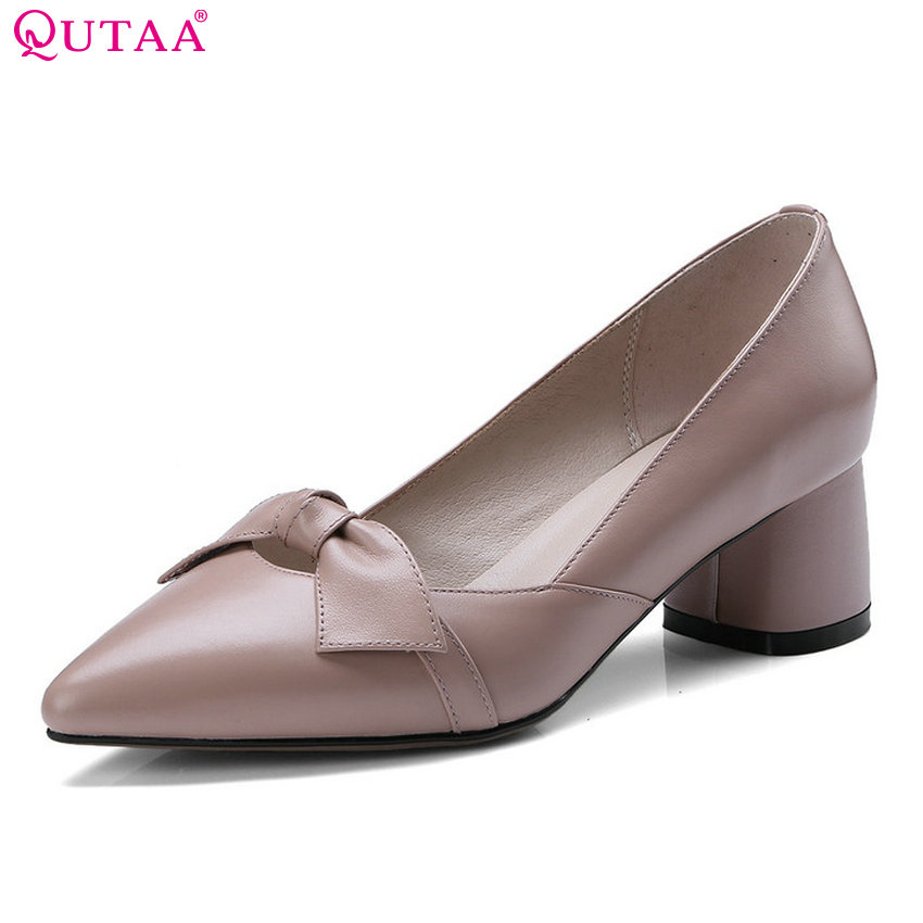 QUTAA 2018 Women Pumps Fashion Women Shoes Platform Bow Tie All Match Pointed Toe Square High Heel Wedding Pumps Size 34-43 qutaa 2018 women pumps sheep skin fashion women shoes simple all match square high heel buckle casual women pumps size 34 42