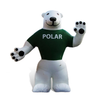 5m/17ft AC137 Benao giant bear inflatable cartoonfor advertising,white bear balloons,smiling sea bear