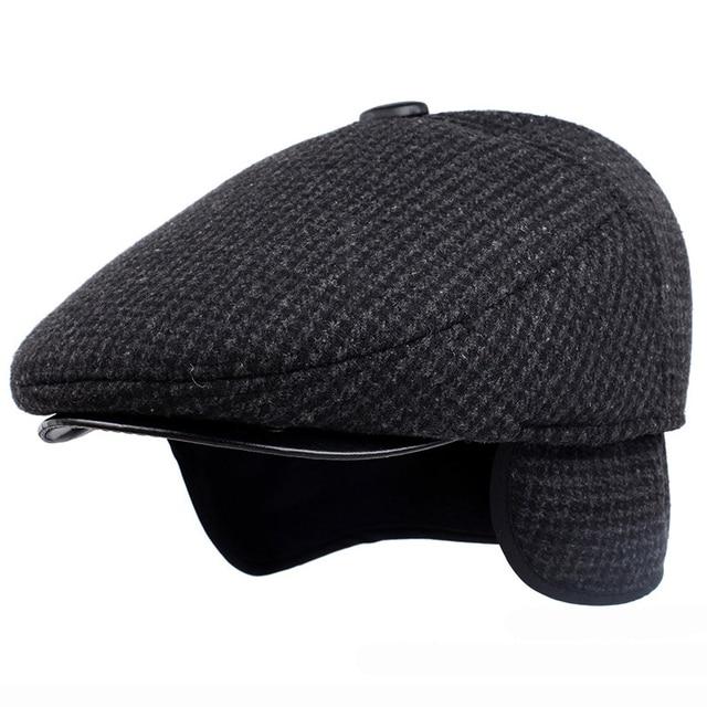 HT1847 Classic Man Cap Autumn Winter Hat with Ear Flap Elder Man Male Dad Hat  Warm Newsboy Ivy Flat Cap Wool Blend Men Beret Cap a3efbfba70f4