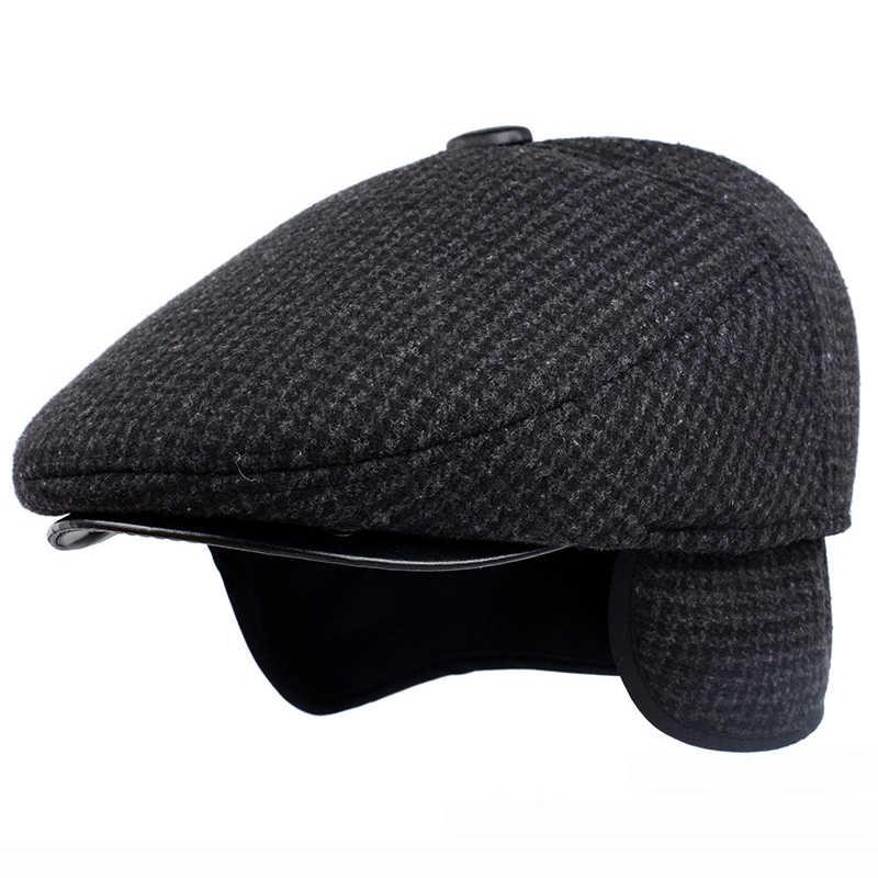 HT1847 Người Đàn Ông Cổ Điển Cap Mùa Thu Mùa Đông Hat với Ear Flap Người Cao Tuổi Người Đàn Ông Nam Cha Hat Ấm Trẻ Bán Báo Ivy Phẳng Cap len Pha Trộn Người Đàn Ông Mũ Beret