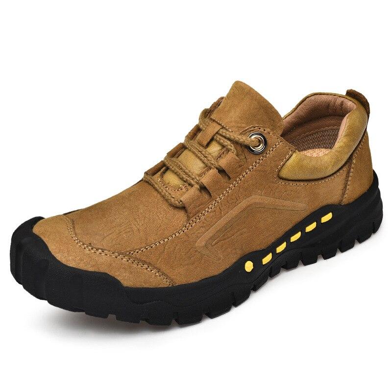 Anticolisión Aire Mocasines amarillo Al Zapatos Respirables Otoño marrón Moda Hombres Nuevo Antideslizante Cordones Libre De Ocasionales Negro Zapatillas Cuero Marca xqw1aH8v0