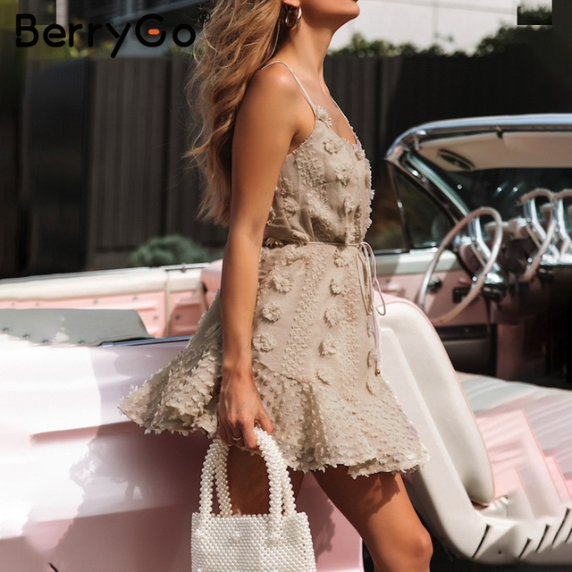 BerryGo Elegant spaghetti strap short dresses party Casual summer sundress ladies dresses 2019 Flower embroidery dress vestidos 5