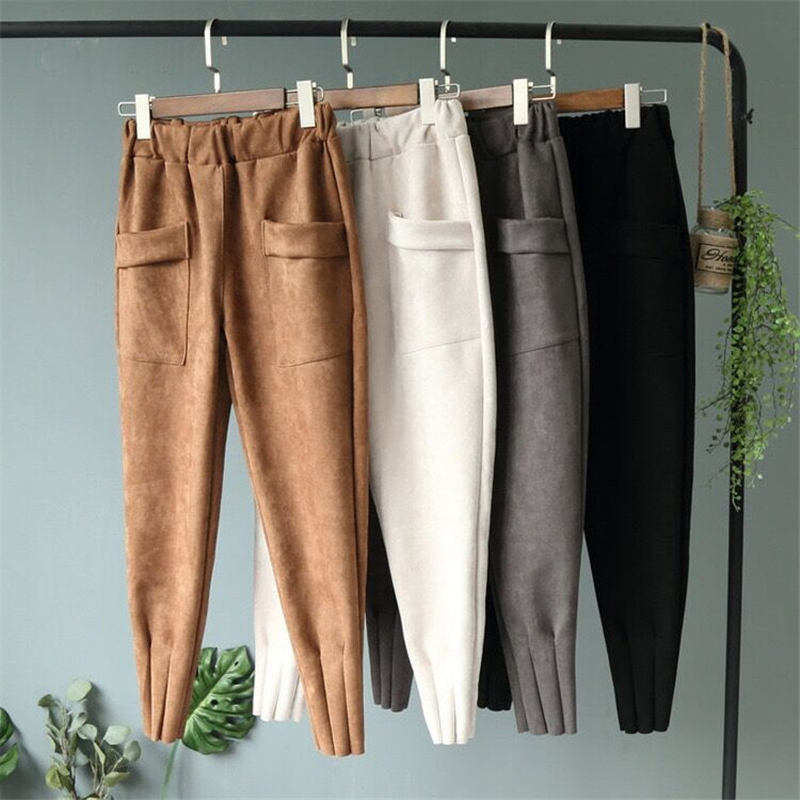 Women   Pants     Capris   Suede Sweatpants Harem   Pants   High Waist Baggy Loose   Pants   Joggers   Pant   Female Khaki Casual Pocket Spring