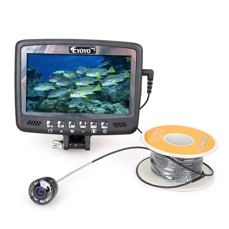 Eyoyo Original 1000TVL Underwater Ice Fishing Camera  Fish Finder 30M Cable  4.3'' Color LCD Monitor 8pcs IR LED free shipping eyoyo original 1000tvl underwater ice video fishing camera fish finder 30m cable 3 5 color lcd monitor