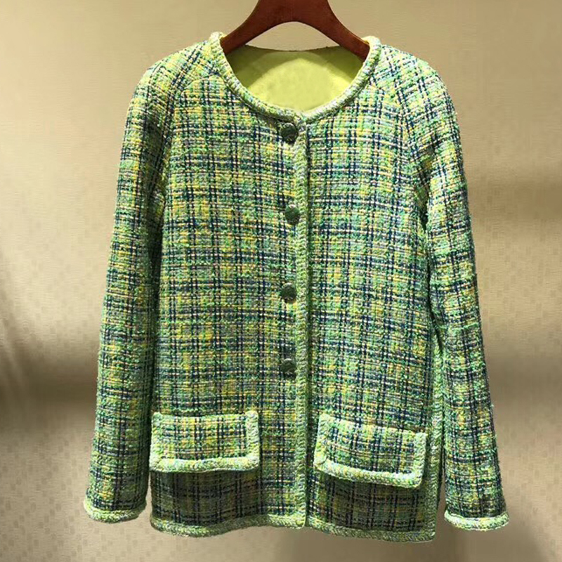 big sale Plaid Jacket For Women Long Sleeve O neck High Quality Elegant Lady Solid Coat For Winter 2019 New Women Coat-in Jackets from Women's Clothing    1