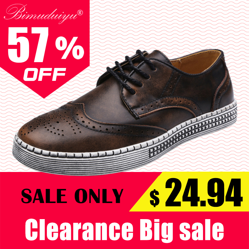 BIMUDUIYU Spring Autumn New Trendy Shoes Quality Genuine Leather Soft Casual Gentleman Brogue Style Men's Shoes 38-48 Large size