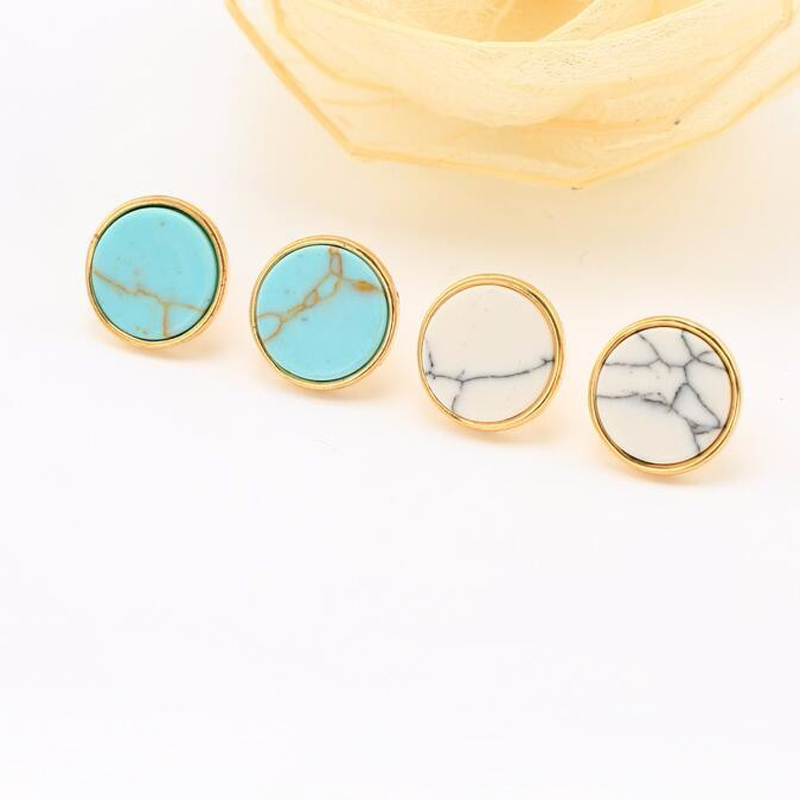 1Pair New Geometric Round Stone Earrings,White Artificial stone Charm Stud Earings For Women Girls Party Gift