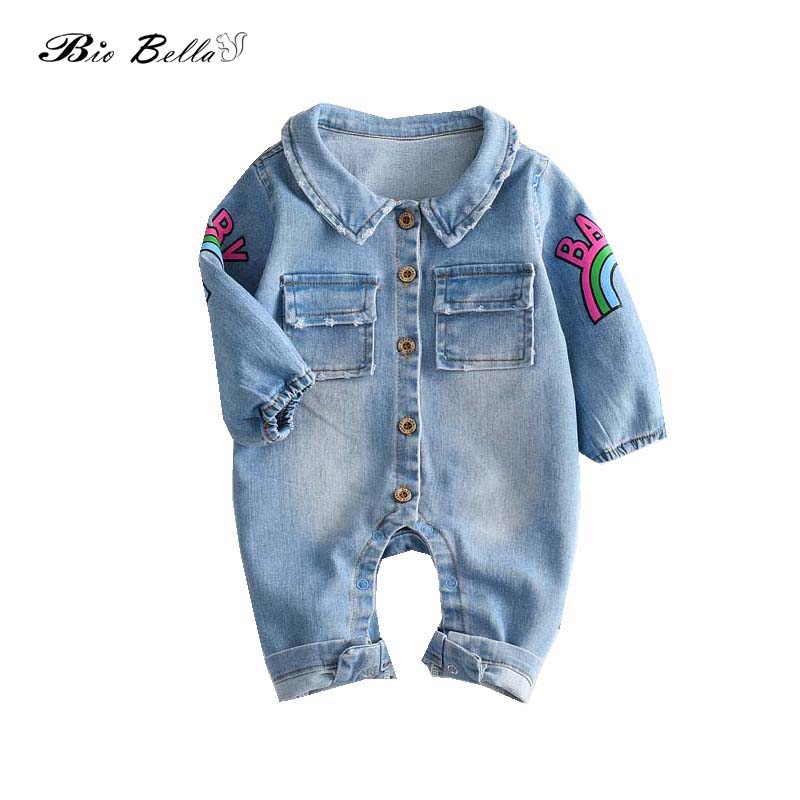 New Baby Boy Clothes Fashion Blue Denim long Sleeve Baby Rompers Newborn Animal Giraffe Rainbow Jumpsuits Roupas Bebes Costume