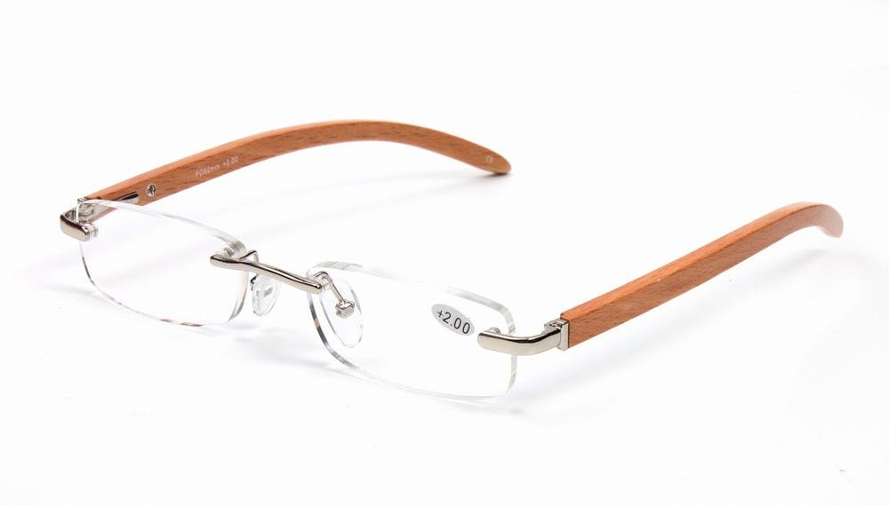 Agstum Handmade Bamboo Rimless Eyeglasses Spring Hinge Reading Glasses Reader +1 +2 +3 +3.5