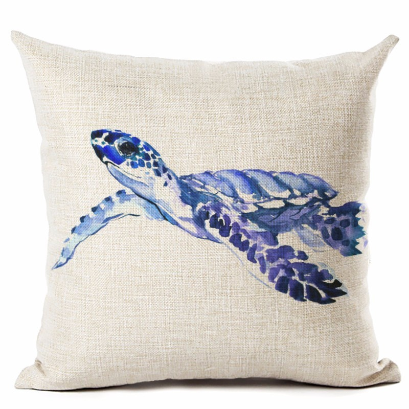 Image 3 - Watercolor Painting Ocean Cushion Cover Mediterranean Blue Sea Turtle Printed Linen Decorative Pillows Case Office Sofa Chiar-in Cushion Cover from Home & Garden