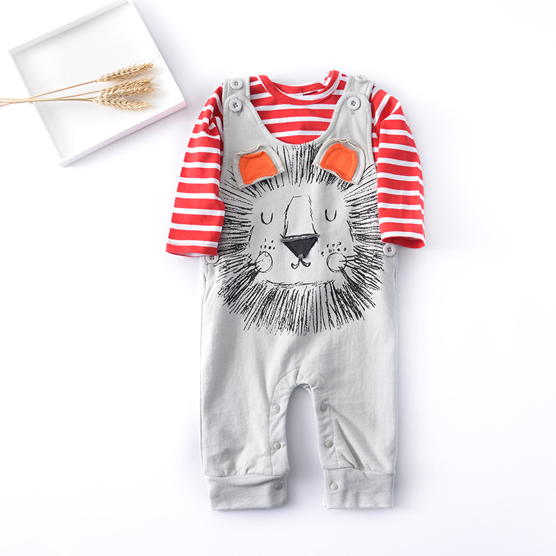 New Baby Rompers Cotton Long Sleeve Baby Clothing Cartoon Lion Overalls for Newborn Infant Clothes Boy Girl Romper Jumpsuit Bib