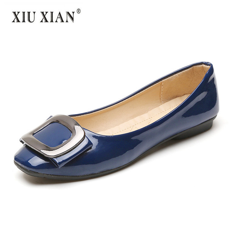 Patent Leather Square Toe Women Flats Shallow Non Slip Comfort Boat Shoe 2018 New Arrived Summer Fashion Lady Office Casual Shoe