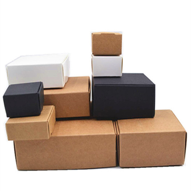 bd3e94feaff 20 sizes Black brown white gift cardboard box brown kraft carton soap  packing gift paper box jewelry gift packaging paper box