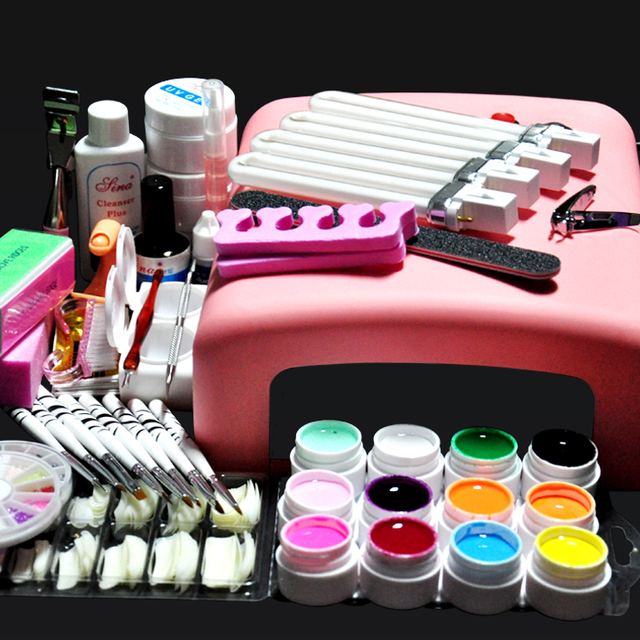 Biutee 36W UV GEL Pink Lamp Dryer + 12 Color UV Gel Nail Art Kits ...
