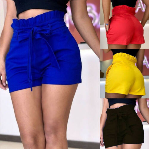 2019 Women Summer Shorts  Loose Women Casual Cotton Candy Color Short Belt Beach High Waist Trouser