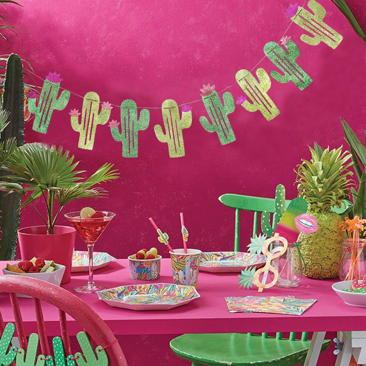 Summer Theme Wedding Parties Decorations Double Sided Cactus Banner ...