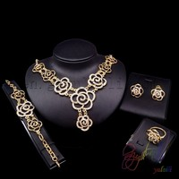 rose gold jewelry set indian cubic zirconia jewelry necklace set jewelry settings wholesale