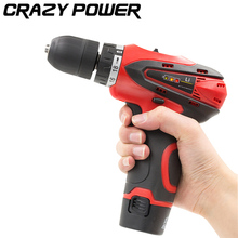 CRAZY POWER 12V Electric Drill Cordless Screwdriver Rechargeable Battery Electric Screwdriver Parafusadeira Furadeira Tool