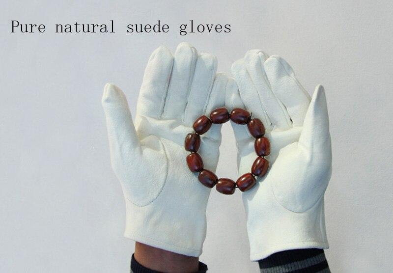 Натуральная замша игровой браслет из деревянных бусин перчатки толстые оленьей кожи Перфорированные дышащие белые кожаные перчатки S73