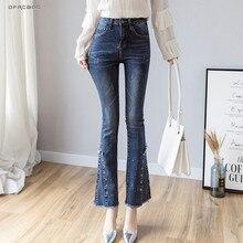 Streetwear High Waist Denim Flare Pants Long Woman 2019 Fashion Summer Retro Blu